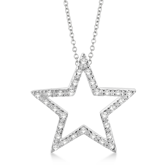 Star shaped diamond pendant necklace 14k white gold 010ct allurez star shaped diamond pendant necklace 14k white gold 010ct aloadofball Image collections