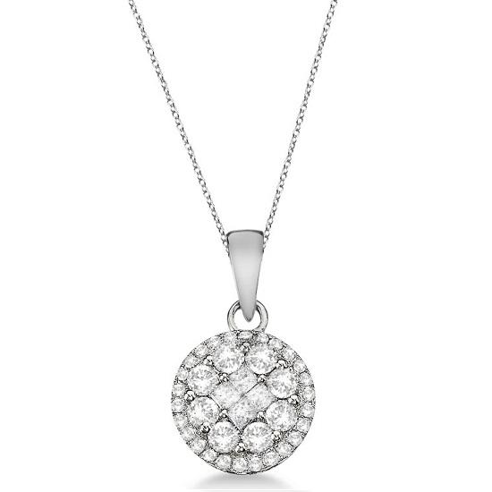 Round & Princess Diamond Cluster Pendant 14k White Gold (1.00ct)