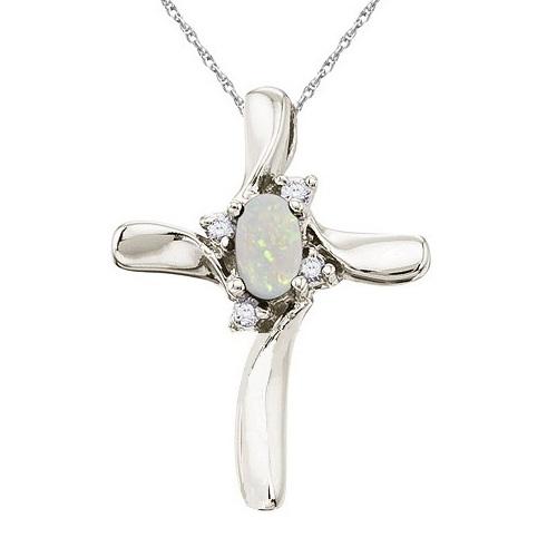 Allurez Opal and Diamond Cross Necklace Pendant 14k White...