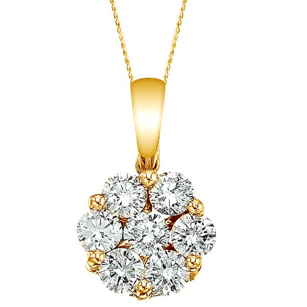 Diamond cluster flower pendant necklace 14k yello gold 100ct diamond cluster flower pendant necklace in 14k yello gold 100ct mozeypictures Image collections