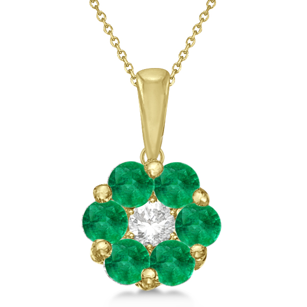Flower diamond emerald pendant necklace 14k yellow gold 092ct fp10 flower diamond emerald pendant necklace 14k yellow gold aloadofball Image collections