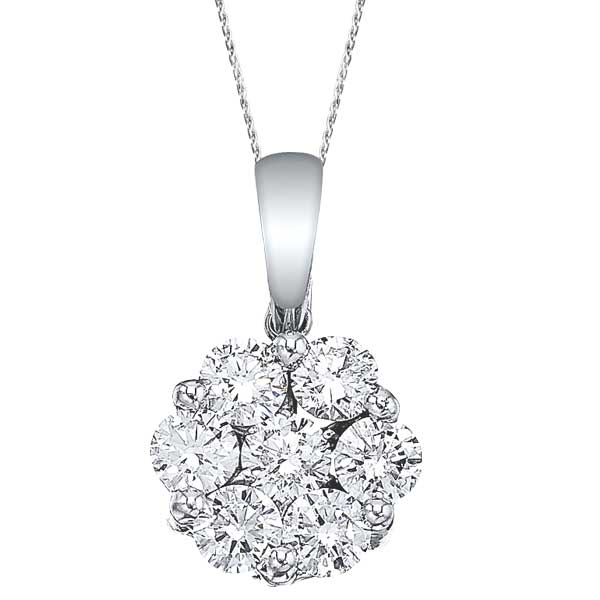 Diamond cluster flower pendant necklace in 14k white gold 100ct fp2 diamond cluster flower pendant necklace in 14k white gold 100ct aloadofball Images