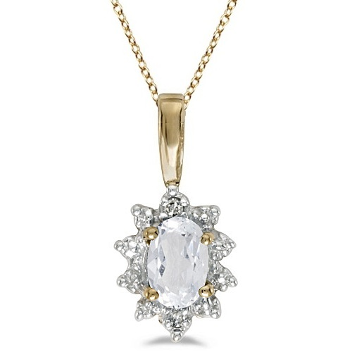 Oval White Topaz and Diamond Flower Pendant Necklace 14k Yellow Gold