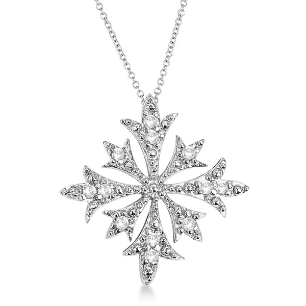 Snowflake Shaped Diamond Pendant Necklace 14k White Gold (0.10ct)