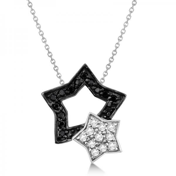 Black and White Diamond Star Pendant Necklace 14K White Gold (0.13ct)