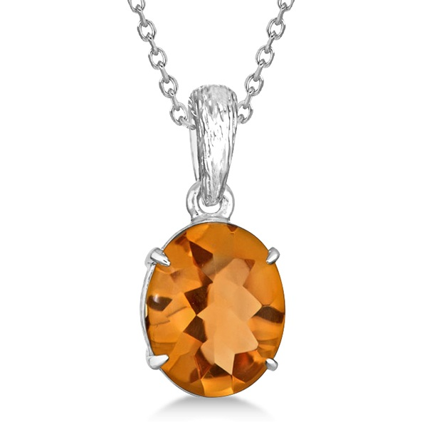 Allurez Oval Cut Citrine Solitaire Pendant Necklace in Sterling Silver (4.50ct) at Sears.com