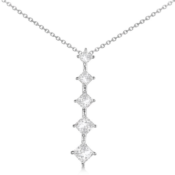 Princess cut five stone diamond journey necklace 14k white gold 100ct aloadofball Images