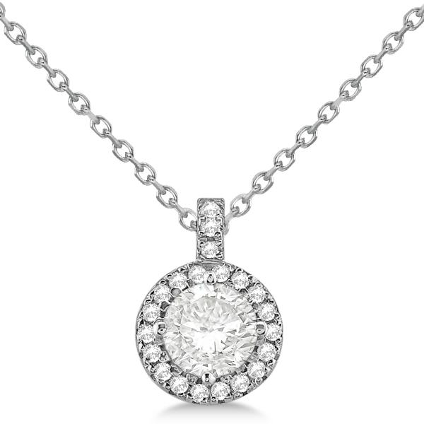 Diamond halo pendant necklace round solitaire 14k white gold 050ct diamond halo pendant necklace round solitaire 14k white gold 050ct aloadofball Image collections