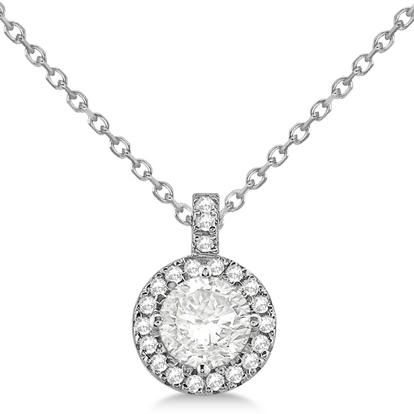 Diamond halo pendant necklace round solitaire 14k white gold 075ct diamond halo pendant necklace round solitaire 14k white gold 075ct aloadofball Gallery