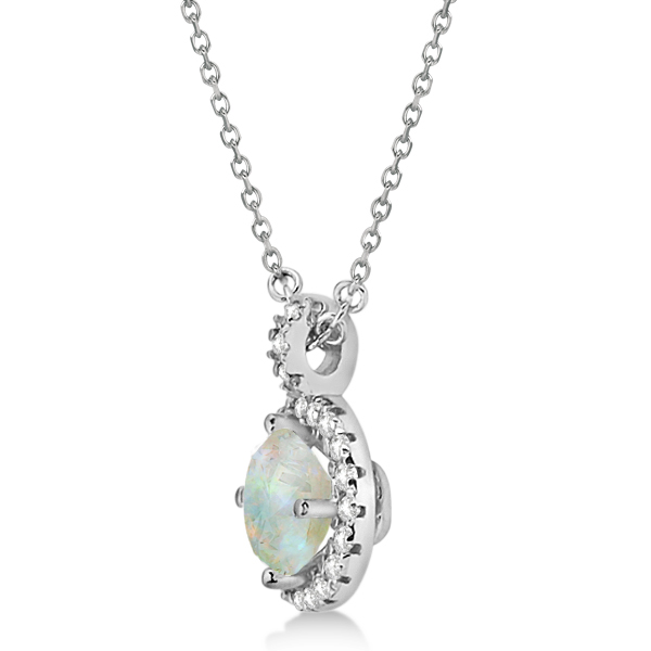 Opal & Diamond Halo Pendant Necklace 14k White Gold (0.68ct)