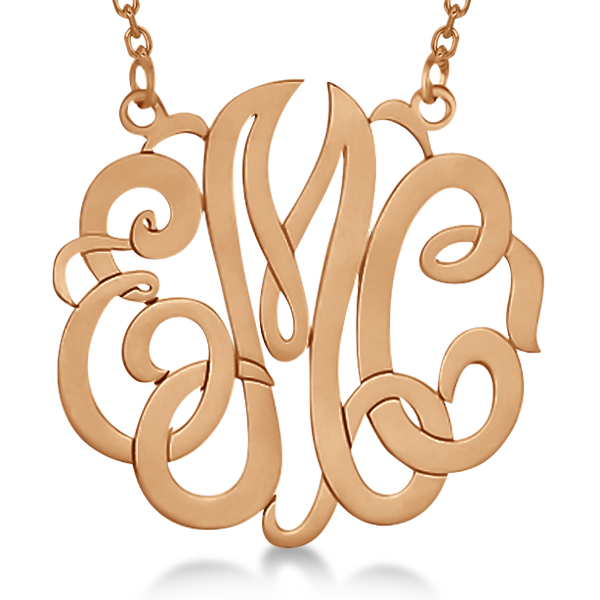 Personalized monogram pendant necklace in 14k rose gold allurez personalized monogram pendant necklace in 14k rose gold mozeypictures Choice Image