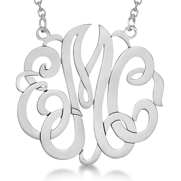 Personalized monogram pendant necklace in 14k white gold allurez personalized monogram pendant necklace in 14k white gold mozeypictures Choice Image