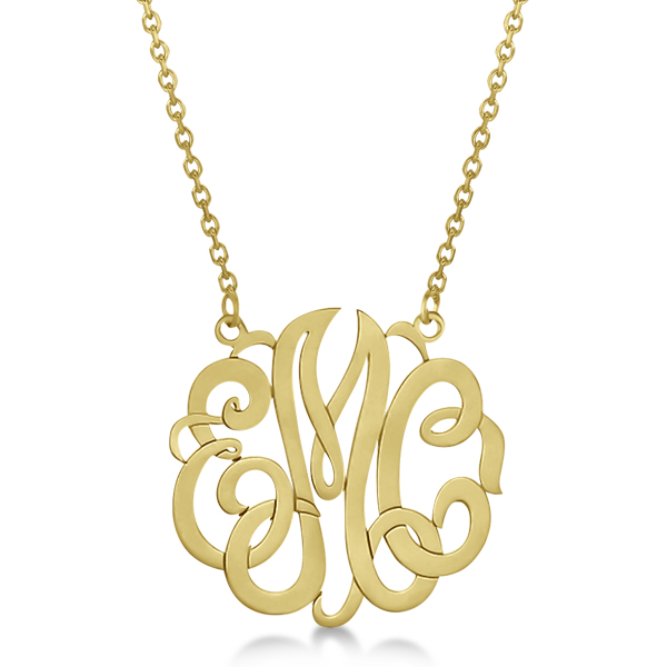 Personalized Monogram Pendant Necklace in 14k Yellow Gold