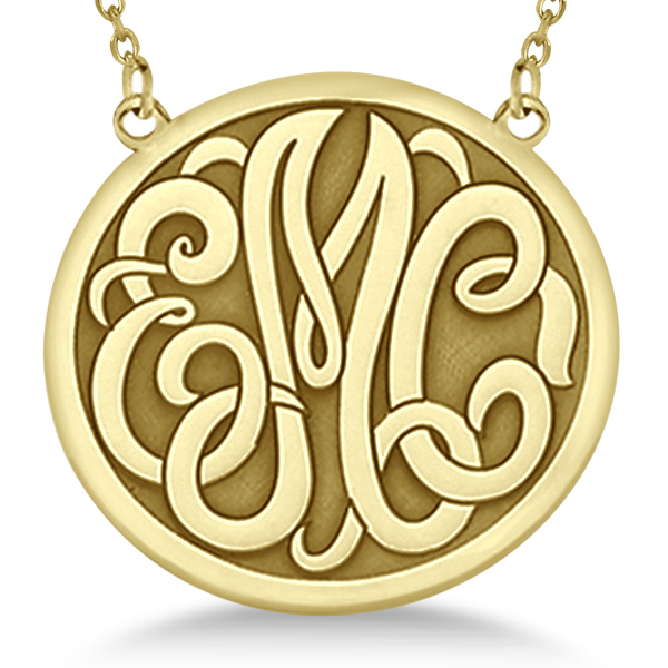 afcbc38ac Engraved Initial Circle Monogram Pendant Necklace 14k Yellow Gold - NG26