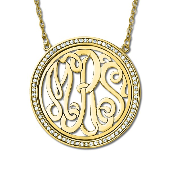 Monogram Initial Necklace with Diamond Accents 14k Yellow Gold 0.34ct