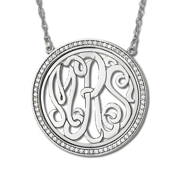 0089ead77159 Monogram Initial Necklace with Diamond Accents Sterling Silver 0.34 ...