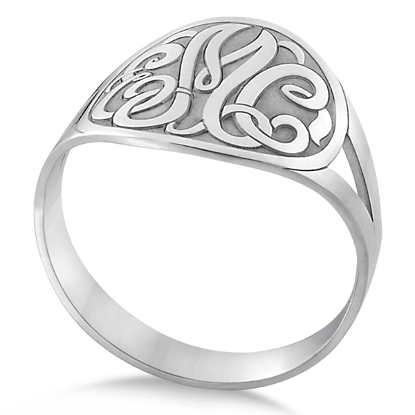 Customized Initial Monogram Fashion Ring in Sterling Silver