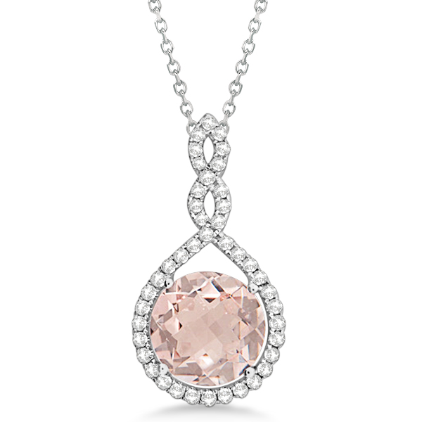 gold shaped pendant genuine rose pear carat fine solid morganite necklace jewelry with