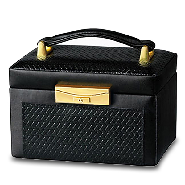Genuine Black Leather Paris Weave Jewelry Box for Home or Travel