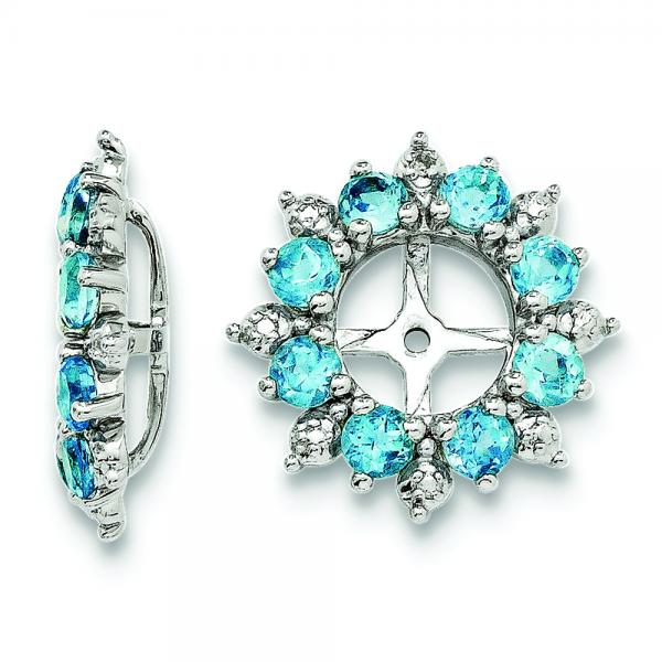 Diamond Accented Blue Topaz Earring Jackets in Sterling Silver (1.30ct)