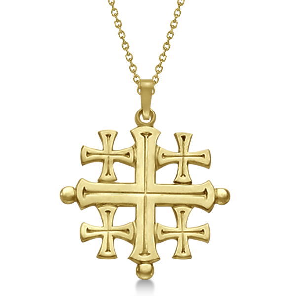 Crusaders jerusalem cross pendant for men or women 14k yellow gold crusaders jerusalem cross pendant for men or women in 14k yellow gold aloadofball Images