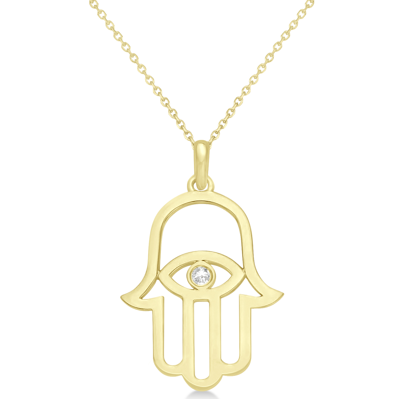 Hamsa Evil Eye Diamond Pendant Necklace 14k Yellow Gold (0.02ct)