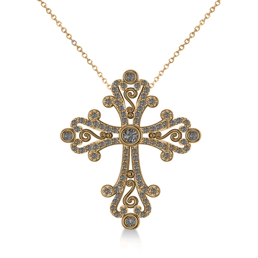 Diamond byzantine cross diamond cross pendant diamond religious diamond byzantine cross pendant necklace in 14k yellow gold 050ct mozeypictures Image collections