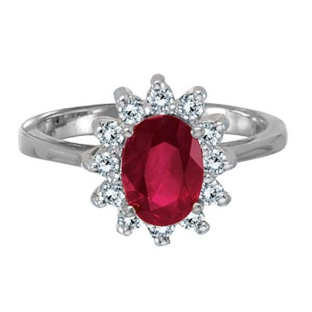 Lady Diana Oval Ruby & Diamond Ring 14k White Gold (1.50 ctw)