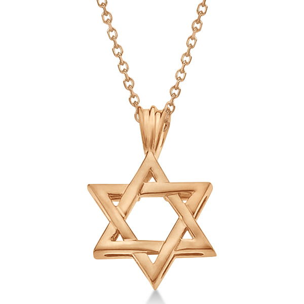 Classic jewish star david pendant necklace solid 14k rose gold classic jewish star of david pendant necklace solid 14k rose gold aloadofball Image collections