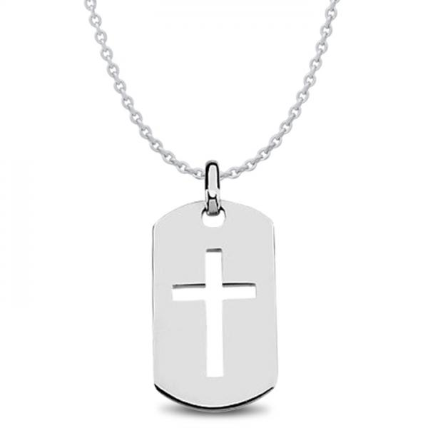 fb538c33a50e6 Men's Dog Tag Pendant with Cross Crafted in Polished Sterling Silver
