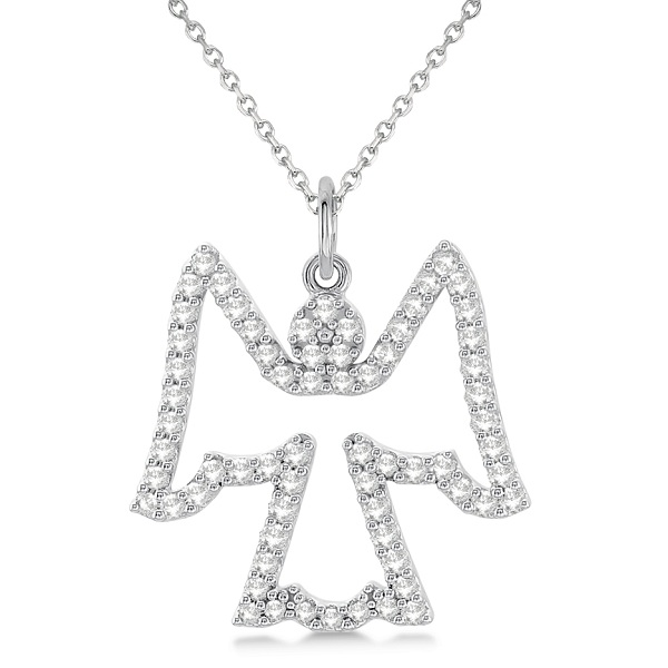 Diamond angel pendant necklace 14k white gold 033ct allurez diamond angel pendant necklace 14k white gold 033ct aloadofball Image collections
