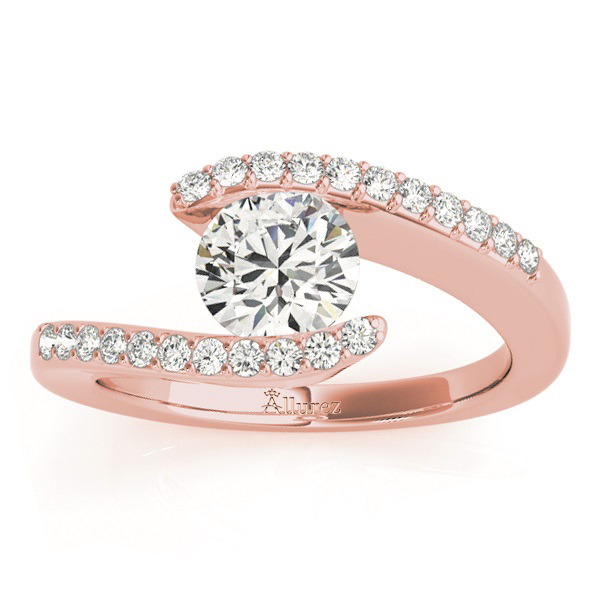 Diamond Accented Tension Set Engagement Ring Setting 14k Rose Gold