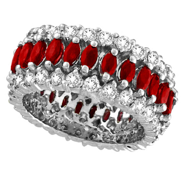 Allurez Marquise Ruby and Diamond Eternity Ring 14k White...