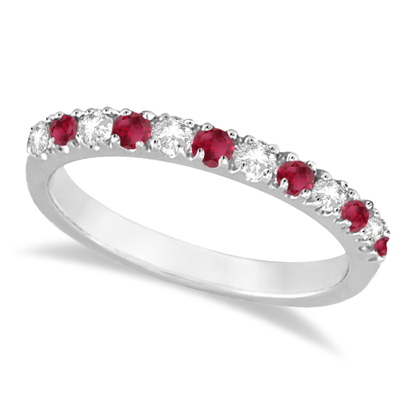 Allurez Diamond and Ruby Ring Guard Anniversary Band 14K ...