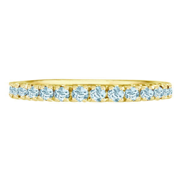 Aquamarine Stackable Ring Anniversary Band in 14k Yellow Gold