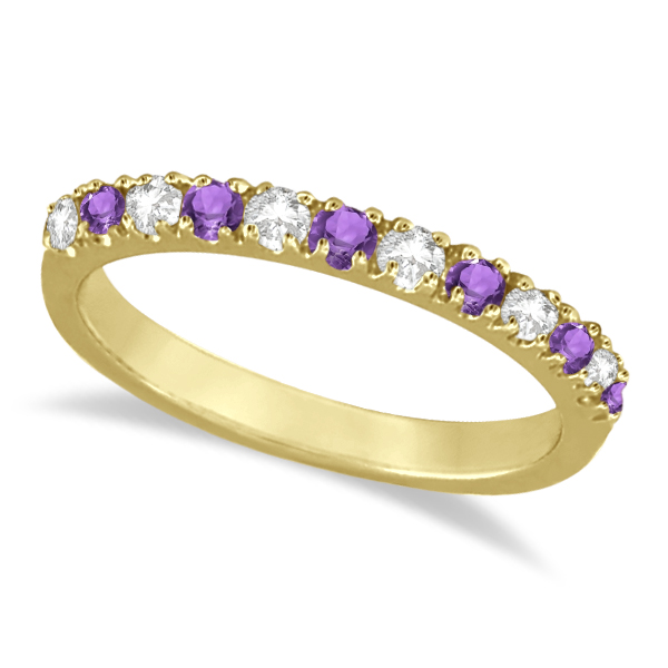 Diamond and Amethyst Band Stackable Ring Guard 14k Yellow Gold 0 32ct