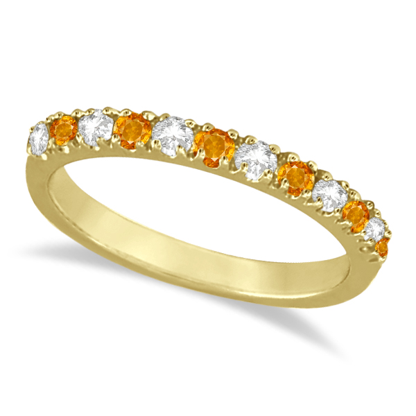 Allurez Diamond and Citrine Ring Guard Stackable Band 14k...