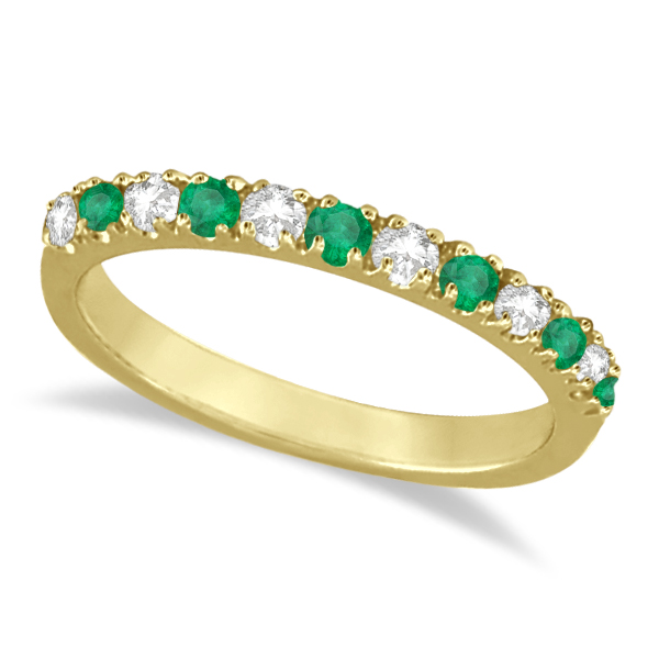 Diamond and Emerald Band Stackable Ring Guard 14k Yellow Gold 0 32ct