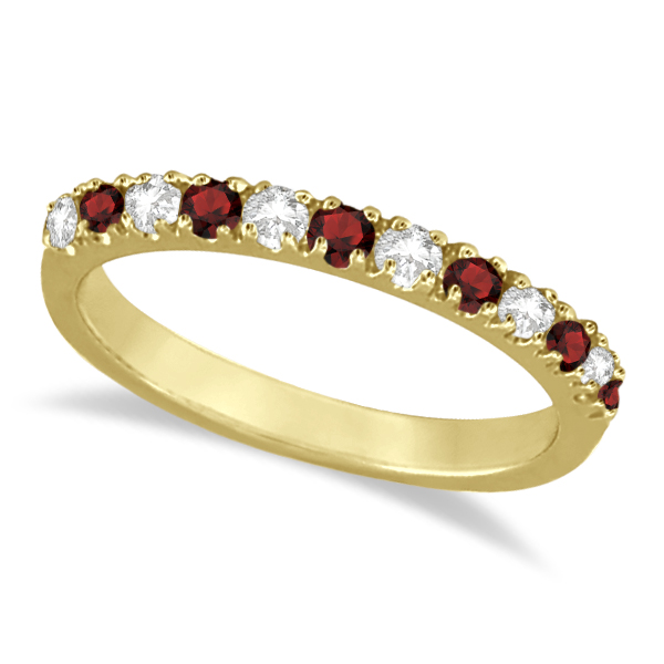 Allurez Diamond and Garnet Ring Guard Stackable Band 14K ...