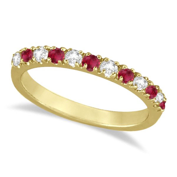 Allurez Diamond and Ruby Ring Guard Stackable Band 14K Yellow Gold (0.37ct)