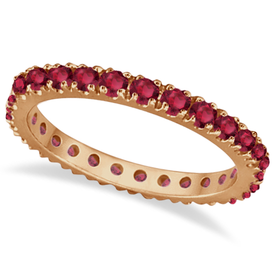 Ruby Eternity Band Stackable Ring 14K Rose Gold (0.50ct)   IR660