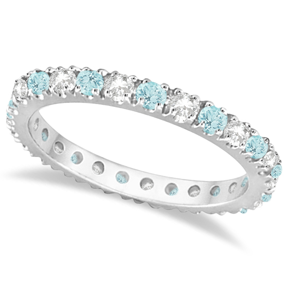 w t zales v diamond rings eternity band rose in aquamarine c wedding gold bands