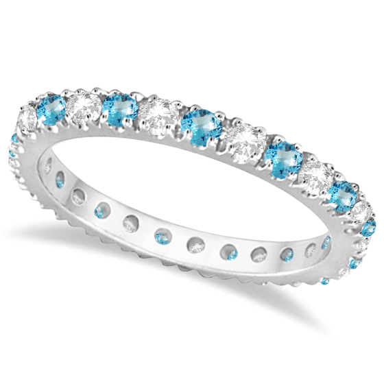 343d77ccbba23 Diamond & Blue Topaz Eternity Ring Stack Band 14K White Gold (0.64ct)