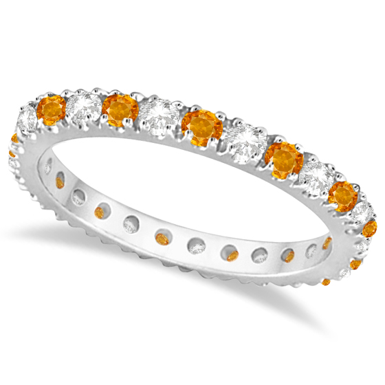 Allurez Diamond and Citrine Eternity Ring Guard Band 14K ...