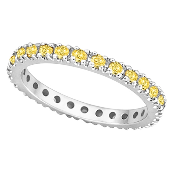 Fancy Yellow Canary Diamond Eternity Ring Band 14k White Gold 0 51ct