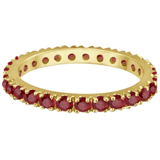 Garnet Eternity Band Stackable Ring 14K Yellow Gold (0.50ct)