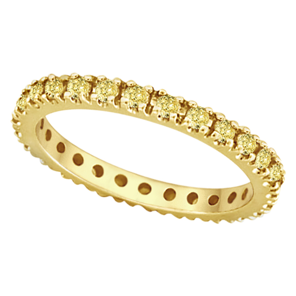Fancy Yellow Canary Diamond Eternity Ring Band 14K Yellow Gold (0.51ct)