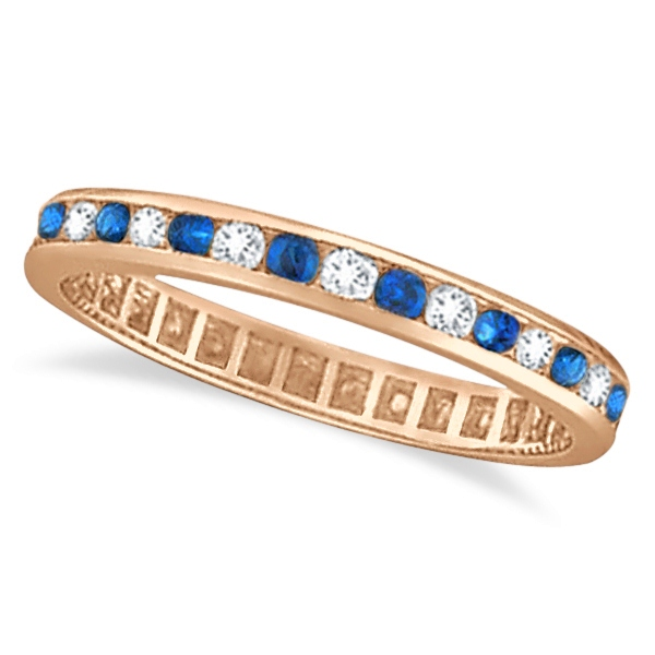 1.04ct Blue Sapphire & Diamond Channel Set Eternity Band 14k Rose Gold