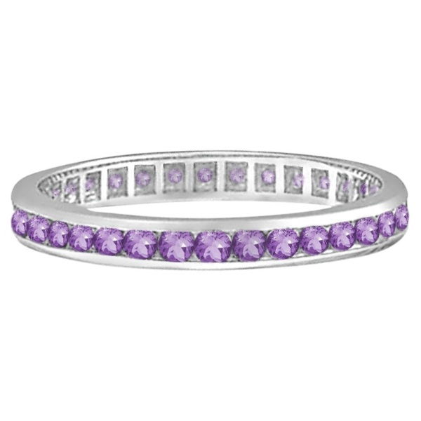 Amethyst Channel Set Eternity Ring Band 14k White Gold (1.00ct)