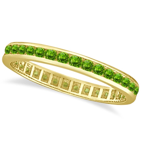 Peridot Channel-Set Eternity Ring Band 14k Yellow Gold (1.04ct)